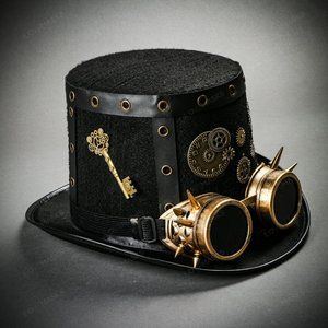 Clock Gear Steampunk Top Hat Gothic Spike Goggles